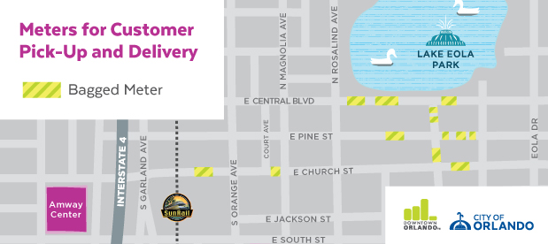 A map of unbagged meters for customer pick-up and delivery.