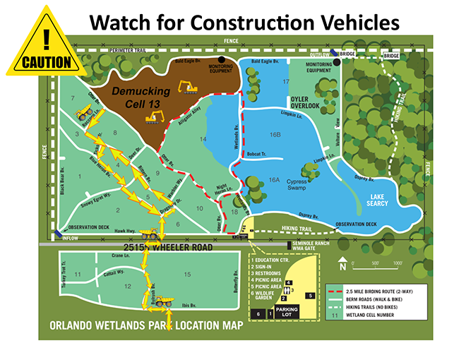 Map of Wetlands Park highlighting cell 13 and the route construction vehicles take during demucking.