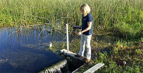Woman testing water quality at Orlando Wetlands Park