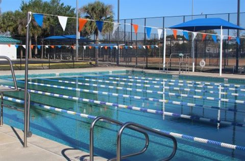 Lanes roped off for lap swimming at Engelwood pool.