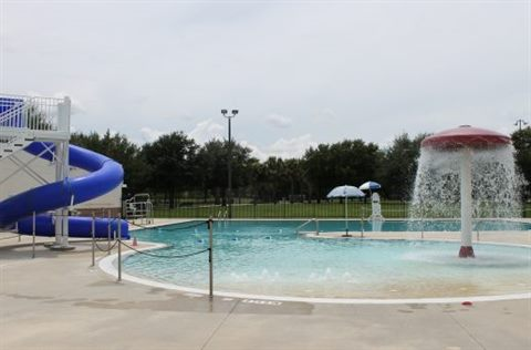 Rosemont pool with water slide and fountain.
