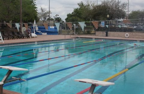 Wadeview pool with lanes roped off for lap swimming.