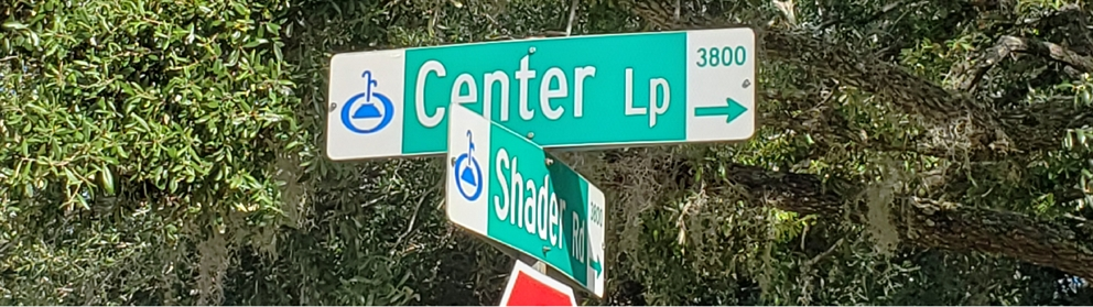 A street sign showing Center Lane and Shader Road