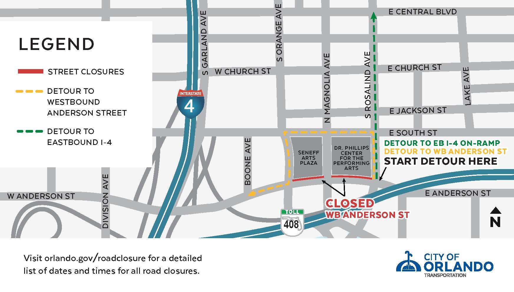 WB Anderson Street Closure Map
