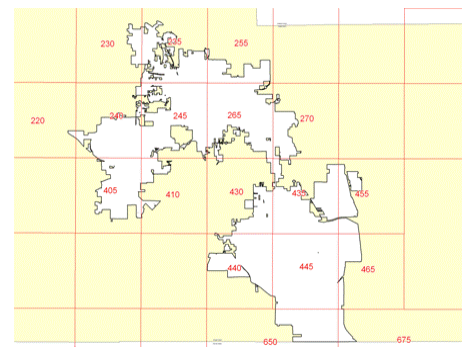 Map Showing Grids for FEMA Flood Zone Maps