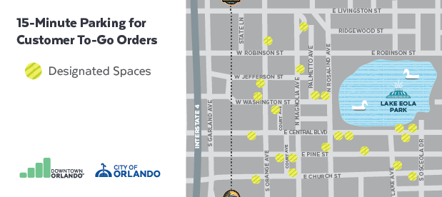 Map of bagged meters for customer to-go orders.