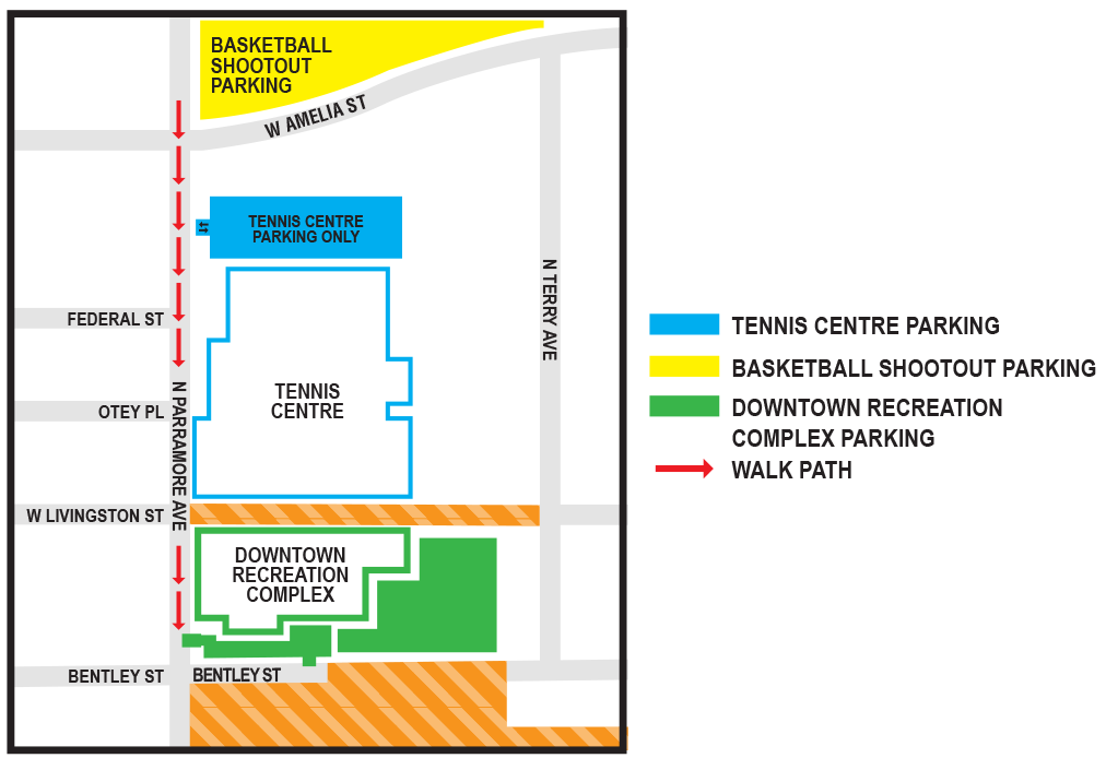 Map showing Basketball Shootout parking just north of West Amelia Street.