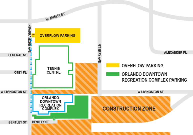 Map showing overflow parking just north of the Tennis Centre and south of West Amelia Street.