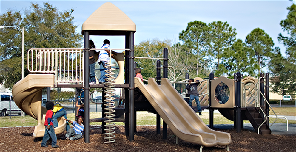 Children on the playground at Rosemont Neighborhood Center.